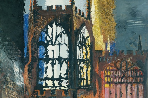 John-Piper-Coventry-Cathedral-Screen-Prints-After-Oil-Paintings-Exterior-Detail